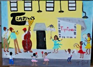 NEW ORLEANS LA. FOLK ART ORIG. PAINTING 9x12  BY P. FORD  MUSIC DANCE JAZZ
