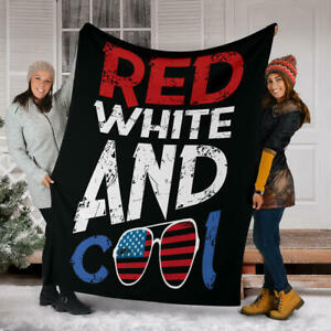"""US Independence Day - """"Red White And Cool"""" American Holiday Blanket Gift"""