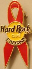 Hard Rock Cafe Bangkok 1990s World Aids Awareness Opaque Red Ribbon Pin Hrc #874