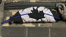 THIN BLUE LINE SWAT FEATHER Police CANADA flag LEO Morale Patch Quill Tactical