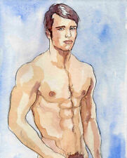 ORIGINAL LARGE MALE NUDE Watercolor - MICHAEL - by GERMANIA