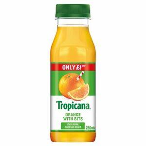 Tropicana Original Orange Juice with Bits 250ml Price Marked £1 x 8 Cafe