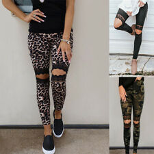 Womens Ripped Jeggings Leggings Ladies Summer Leopard Camo Pants Skinny Trousers