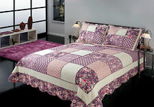 Quilts Coverlet King Size 245cm x 265cm  Purple Patchwork Includes 2 pillowcases