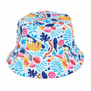 New Floppy Tops Girl's Tropical Print Rain Bucket Hat with Carrying Pouch