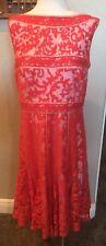 EUC TADASHI SHOJI Size 14 Orange/Rust Embroidered Lace Overlay Dress