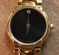 Longines Ladies Quartz Watch Untested Wrist Gold Bracelet Black Diamond Dial