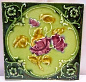 TILE VINTAGE PORCELAIN ROSE PURPLE ENGLAND ART NOUVEAU MAJOLICA COLLECTIBLES#106