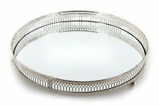 Silver Effect Mirror Tealight Candle Tray Plate 28Cm