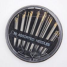 30 Stk gemischte Hand Nähnadeln Nadeln Set Goldöhr nähnadelset mit Runddose 3533