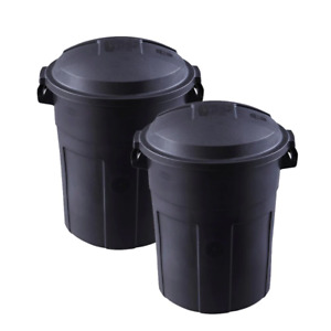 Roughneck 32 Gal.  Trash Can with Lid Black round(2-Pack)