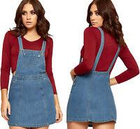 Womens Denim Dunagree Dress Top Ladies Skirt Bib Zip Button Strappy Sleeveless
