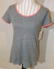 NEW ladies LULAROE gray & pink ringer Classic T shirt top Size XXS