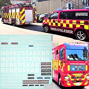 Hovedstadens Beredskab Fire Brigade Pompier Ambulance 1:43 Sticket Décalcomanie