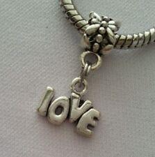 Love Word Message Slide Dangle Bead Silver Fits Most European Charm Bracelet