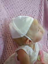 Baby White Satin Christening/Baptism  Papal's Style Skull Cap/ Hat Size 0-24 M