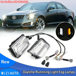 For 2013-2016 Cadillac ATS LED Daytime Running Light Fog Lamps DRL w/Turn Signal