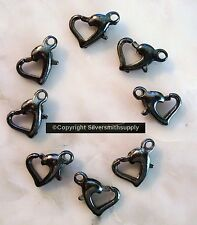8 Heart black pltd 12mm metal lobster claw parrot trigger jewelry clasps fpc318