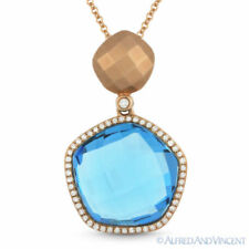 11.12ct Blue Topaz & Diamond Pave Halo Pendant & Chain Necklace in 14k Rose Gold