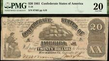 1861 $20 DOLLAR CONFEDERATE STATES CURRENCY CIVIL WAR NOTE PAPER MONEY T-18 PMG