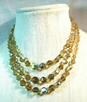 Miriam Haskell Vintage 3-Strand Amber Glass Crystal  Necklace  ~SIGNED
