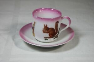Demitasse Cup and Saucer Antique Pink Squirrel Nut Horn Pattern Childs Tea Cup