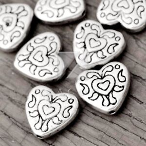 80pcs Tibetan Silver Spacer Loose Metal Charm Beads Jewelry Findings Heart
