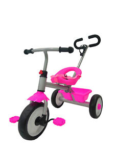 Kids My First Ride On Push Along Trike Removable Parent  Handle Kids 3 Wheeler