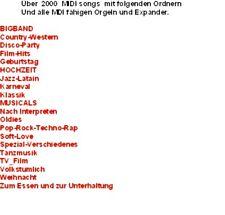 Midi Files 21 Ordner 2800 MIDI Files - Stücke und Interpreten für alle Anlässe