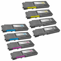 8PK BLACK COLOR for Dell C3760 Extra HY Toner Cartridges C3760dn C3760n C3765dnf