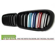 Matte Black w/// M Tri Color Front Kidney Grille for 2015+ BMW X6 X6M F16 Model