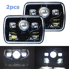 "2x LED Cree Projector Headlights 7x6"" Sealed Beam High Low Beam Headlights Black"