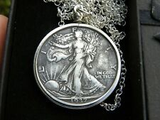 1937 Authentic circulated silver walking liberty half  dollar coin necklace