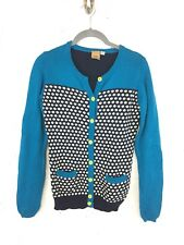 Oxmo Desires Womens Size Small Cardigan Teal Polka Dot Neon Yellow Classic D27
