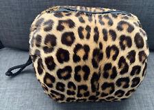 Vintage Cheetah Print Unknown Real Fur Hand Warmer Muff Zip Pocket & Wrist Cord