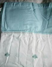 Peri Home Napoleon White Aqua Blue Embroidered Bee Fabric Shower Curtain