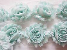"""1 YARD Gingham Shabby Chiffon 2.5"""" Flower Trim-Mint CH005"""