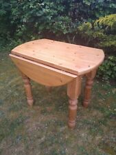 Solid Pine Chunky Country Waxed Farmhouse Round Drop Leaf Dining Table