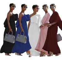 Women one shoulder oblique shoulder casual elegant party fashion  long dress