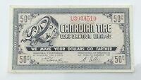 1962 Canadian Tire Fifty 50 Cents CTC-7-J-U Paper Money Bonus Banknote G882