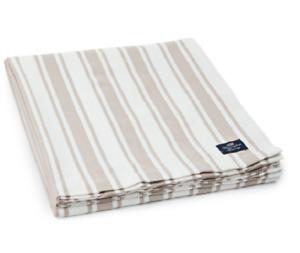 LEXINGTON BEIGE / WHITE STRIPE TABLECLOTH 150CM X 250CM 100% COTTON