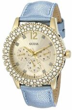 NEW GUESS GOLD TONE,ICE BLUE LEATHER BAND,CRYSTAL+GOLD DIAL&BEZEL WATCH U0336L6
