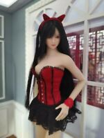 1/6 Scale Red Corset Tight Skirt Lace Short Dress Set Fit 12'' Female PH Body