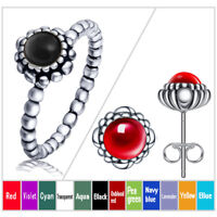 12 Colors Birthstone Charms 925Silver Sterling Ring European Ring Earrings gifts