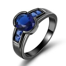 Gorgeous Jewelry  Men's Blue Topaz Black Gold Filled Anniversary Rings Size 10