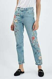 Topshop Moto Floral Embroidered Mom Jeans size US2, 4, 6