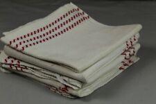 5 alte Handtücher / Küchentücher aus Baumwolle mit roten Randverzierungen
