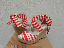 UGG LUCIANNA RED STRIPE ANKLE WRAP WEDGE HEELS, US 8.5/ EUR 39.5 ~ NIB