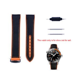 22mm Black Orange Rubber Watch Band For Omega Seamaster Planet Ocean 600m 45.5mm