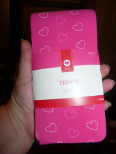 New in Package Girl's Pink tights with hearts size 12-14